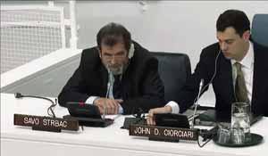 Savо Štrbac na sjednici generalne skupštine UN-a o selektivnoj pravdi pred MKSJ, 10. 04. 2013.