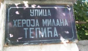 Tabla u ulici Heroja Milana Tepića
