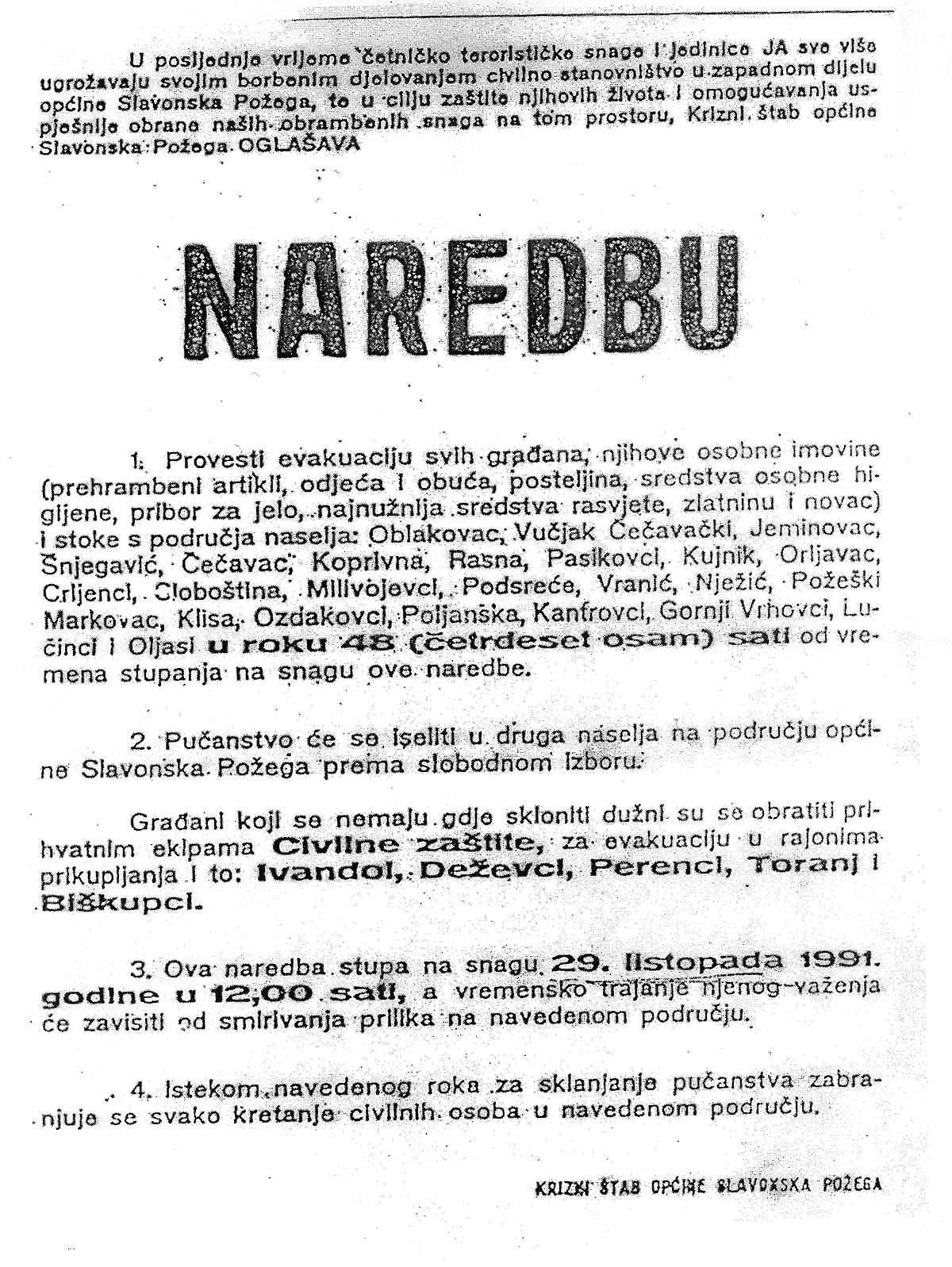 Naredba o evakuaciji od 28. listopada 1991,  Slavonska Pozega  - kliknuti za uvećanje Foto: Arhiva DIC Veritas
