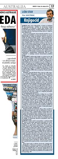 Savo Štrbac - kolumna Lični stav, Novosti Australija - petak, 18. oktobar 2013.