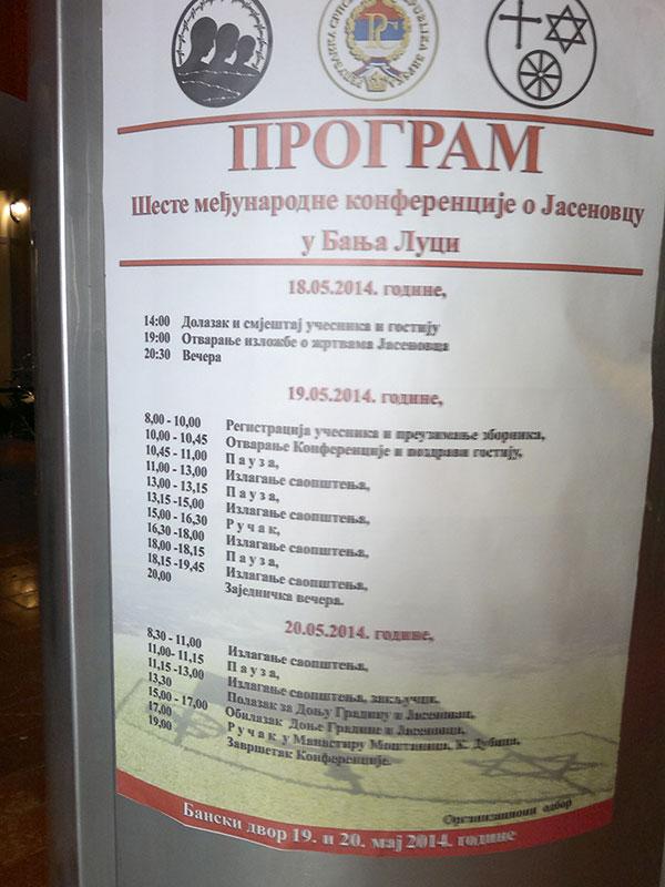 Program 6. međunarodne konferencije o Jasenovcu, Banja Luka, 10-20.05.2014.