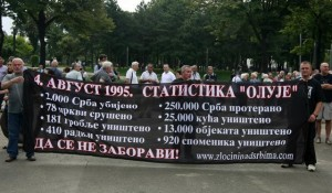 A banner displayed in Belgrade lists the grim 'statistics' of Operation Storm (Beta)