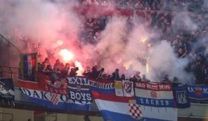 Ustaške zastave na utakmici reprezentacija Italije i Hrvatske u Milanu, 16.11.2014.