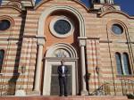 Саво Штрбац испред Цркве Светог Илије у Мерилвилу, Индијана фебруар 2016.