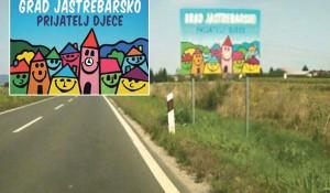 """Tabla na ulazu u grad: """"Grad Jastrebarsko prijatelj djece"""" Foto: Screenshot"""