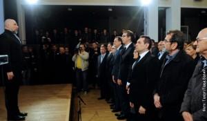 Intoniranje himne, Kinotekta, Beograd 10.4.2016. Foto: RTS / Tanjug, Tanja Valič
