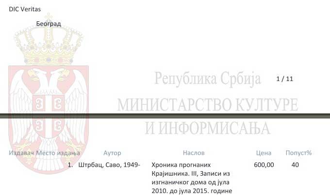 Rezultati Konkursa Ministarstva kulture za otkup knjiga 2016. godine