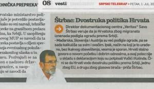 Štrbac: Dvostrua politika Hrvata, Srpski telegraf, 1.7.2016. štampano izdanje Foto: ScreenShoot