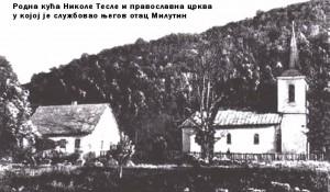 Crkva sv. Petra i Pavla, parohijski dom i kuća Teslinih u Smiljanu, izgled krajem 19. veka Foto: radista.info