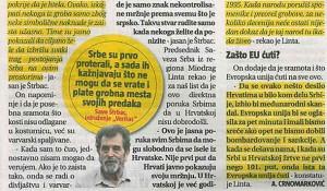 Informer, 23. 05. 2017., Hrvati prekopali srpske grobove i spalili kosti pokojnika