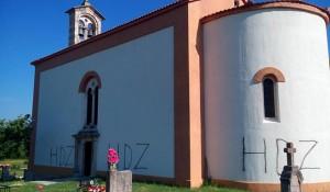 Hrvatska: Vandalizam na Crkvi u Žegaru, 23.5.2017, Eparhija Dalmatinska Foto: SRNA