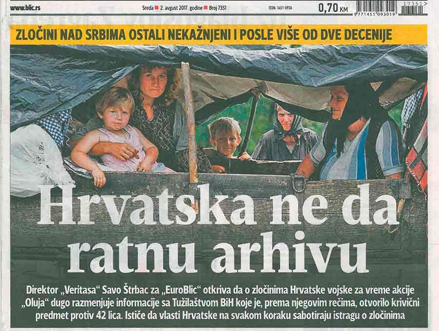 Blic, Hrvatska štiti RATNE ZLOČINCE: Bombardovali izbeglice na teritoriji BiH uz blagoslov Zagreba, 2.8.2017.