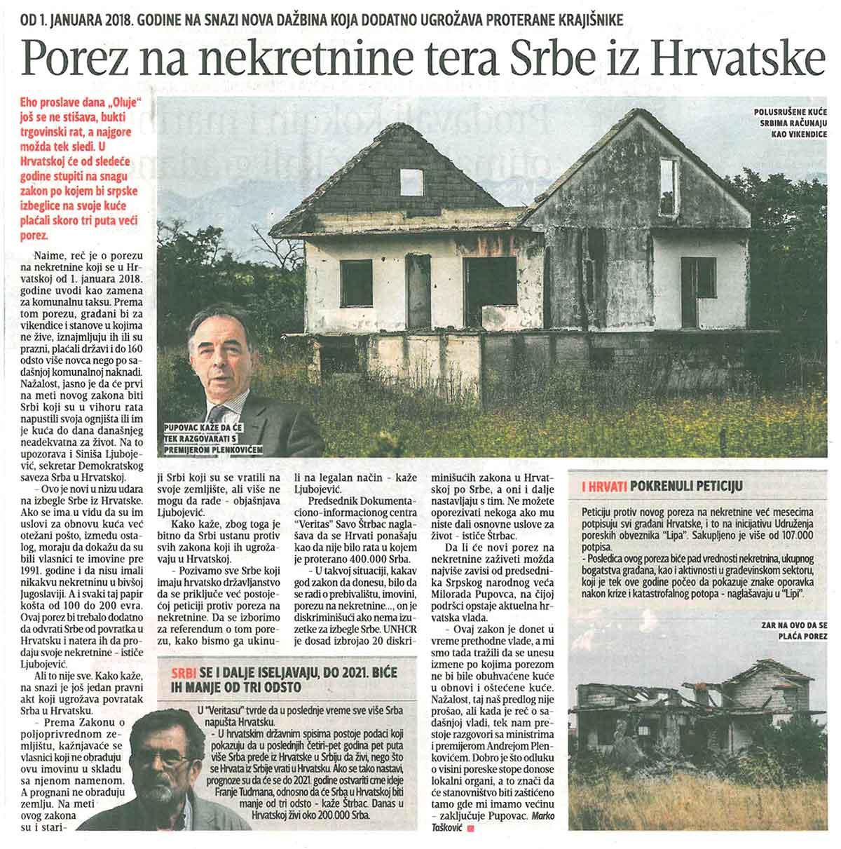 Blic, 09.08.2017, Porez na nekretnine tera Srbe iz Hrvatske