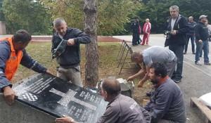 Novska: Tabla s ustaškim pozdravom postavljena u Novskoj Foto: Infex.hr / HINA