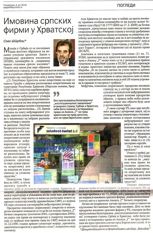Политика, 04.06.2018, Саво Штрбац: Имовина српских фирми у Хрватској