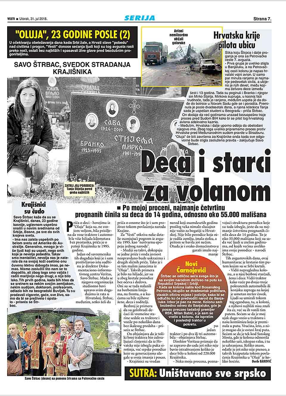 """Vesti, 31.07.2018, """"Oluja"""", 23 godine posle (2): Deca i starci za volanom"""