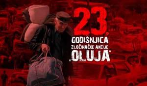 Plakat povodom 23. godišnjice hrvatske operacije Oluja Foto: Srbija Danas, Profimedia