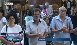 """Beograd, Crkva Svetog Marka: Parastos Srbima ubijenim u akciji """"Medački džep"""", 9.9.2018. Foto: Screenshot"""