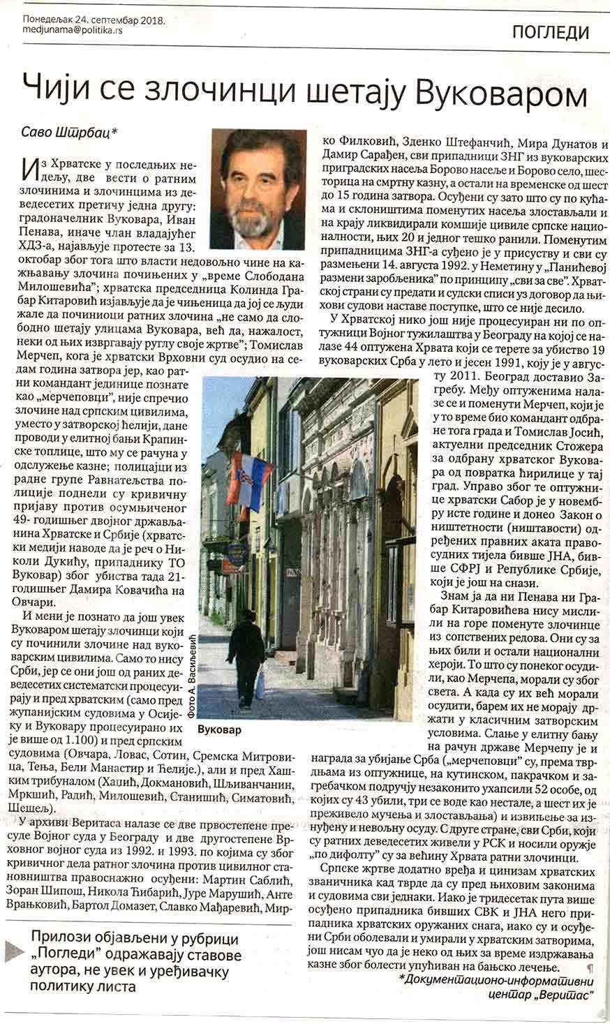 Savo Štrbac: Čiji zločinci šetaju Vukovarom