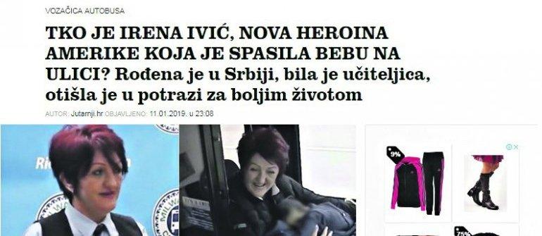 Zaglavlje Jutarnjeg lista o Ireni Ivić Foto: Screenshot