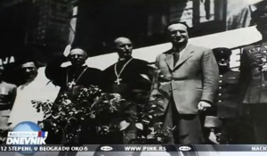 Alojzije Stepinac, Vladimr Bakarić u društvu oficira Crvene armije na dočeku JB Tita, Zagreb, maj 1945. Foto: Arhiva, screenshot tv Pink