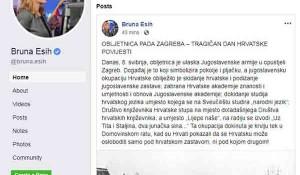 "Bruna Esih, objava na FB, ""Pad Zagreba"" Foto: Politika, screenshot"