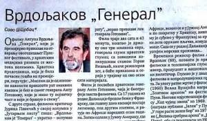 Savo Štrbac: Vrdoljakov General, Politika, 18.7.2019. Foto: Scan