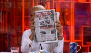 Savo Štrbac na TV Happy povodom poverljivih mejlova Grabar Kitarović i feljtonu prof. Grajfa o Jasenovcu Foto: screenshot