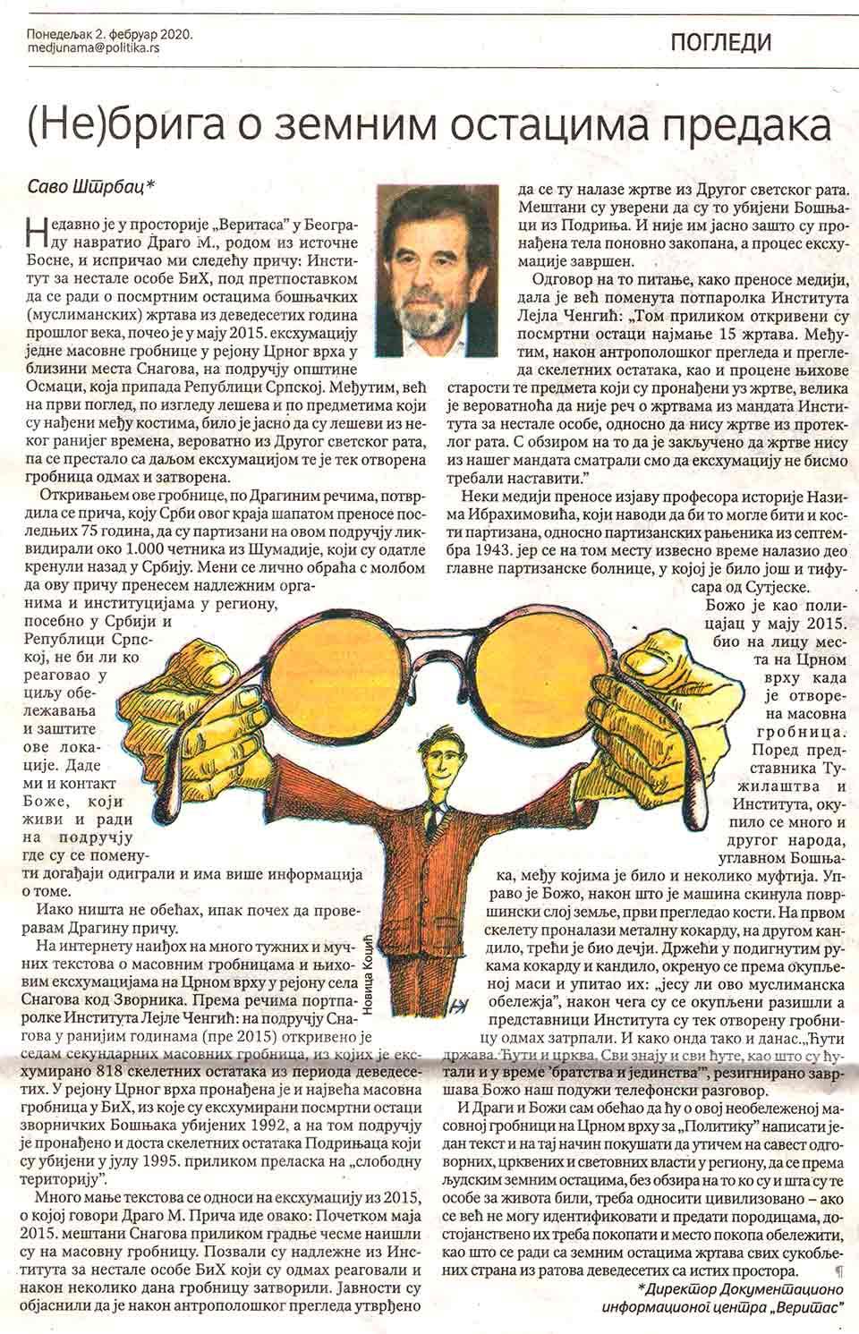 Savo Štrbac: (NE)BRIGA O ZEMNIM OSTACIMA PREDAKA, Politika, 2.3.2020. Foto: Screenshot