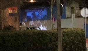 Zaprešić: Šahovnica s bijelim poljem na zidu pored policije, 2020. Foto: Jutarnji list