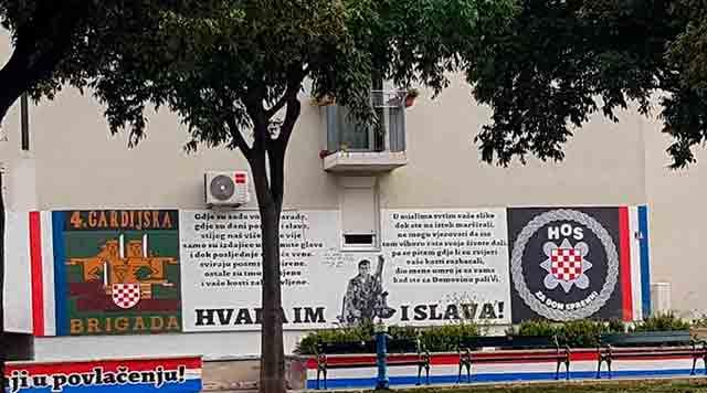 Split: HOS-ov grafit s ustaškim pozdravom osvanuo na Poljudu Foto: Index.hr