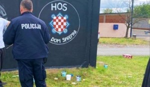 Vukovar: Grb HOS, i ustaška znamenja, 6.5.2020. Foto: Index.hr, Srđan Milaković