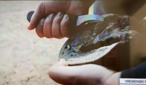 Srbosjek kao alat u Tompsonovom spotu na RTCG 9.5.2020. Foto: Printscreen, IN4S