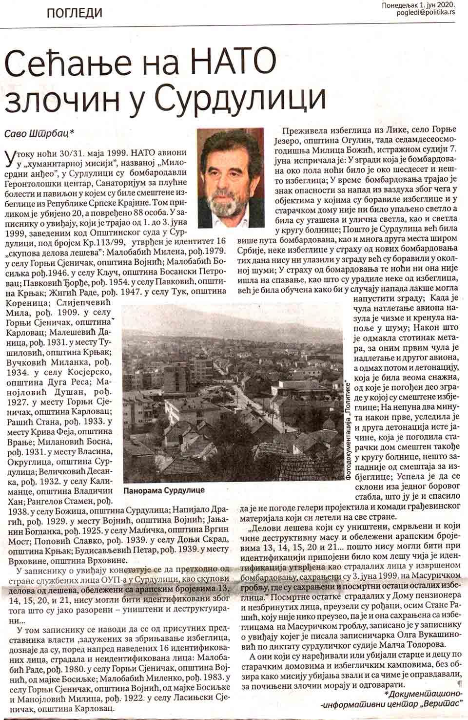 Politika, 1. jun 2020, Savo Štrbac:Sećanje na nato zločin u Surdulici Foto: Politika, scan