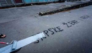 Dalmacija: Odvratna antisrpska poruka dočekala birače u Splitu, 5.7.2020. Foto:Index.hr