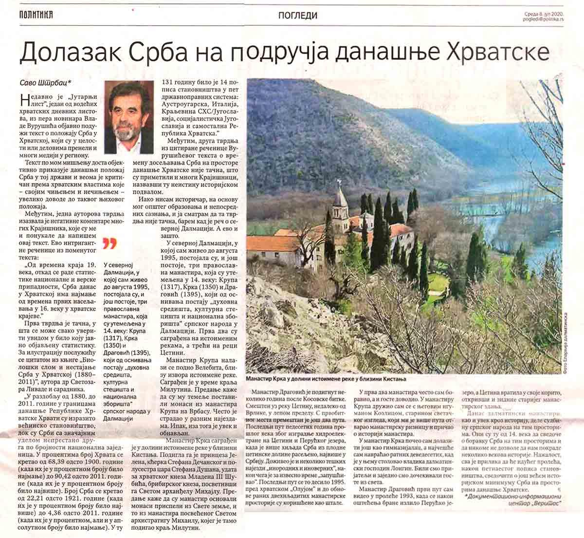 Savo Štrbac: Dolazak Srba na područja današnje Hrvatske, Politika, 8.7.20. Foto: scan