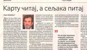 Politika, 27.07.2020, Savo Štrbac: Kartu čitaj a seljaka pitaj Foto: screenshot