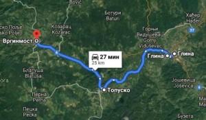 Mapa rute obnovljenog šinobusa na relaciji Vrginmost - Topusko - Glina 1993. Foto: Google map screenshot