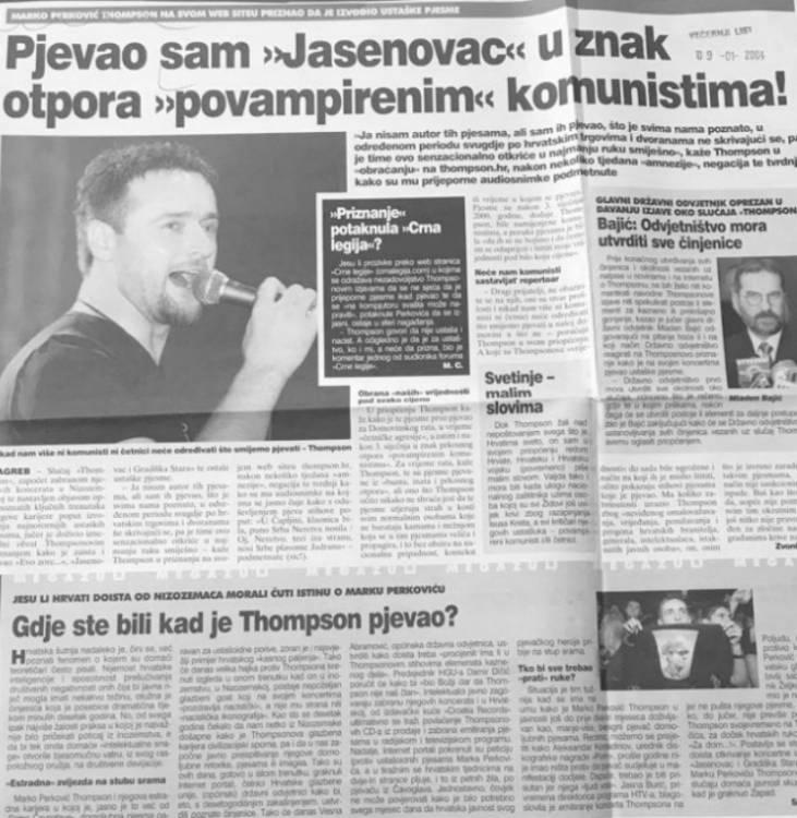 "Večernji list, 9.1.2004, Thompson: Pjevao sam ""Jasenovac"" u znak otpora povampirenim komunistima Foto: Portal Novosti"
