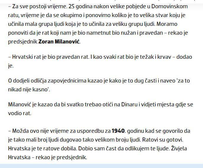 Predsednik Hrvatske i vrhovni komandant oružanih snaga Zoran Milanović, Knin, 04.08.2020. Foto: Večernji list, screenshot