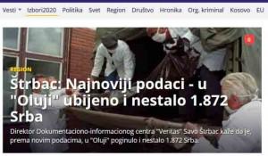 """Štrbac: Najnoviji podaci - u """"Oluji"""" ubijeno i nestalo 1.872 Srba,8.8.2020..Foto: B92, screenshot"""