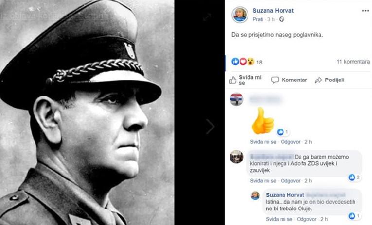 """HDZ-ovka objavila sliku Pavelića uz poruku: """"Da se prisjetimo našeg poglavnika"""" Foto: FB screenshot"""