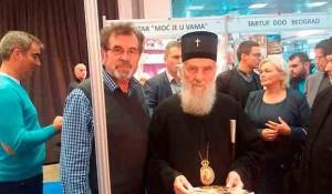 Njegova Svetost Patrijarh srpski G.G. Irinej na štandu Veritasa, 2017. Foto: DIC Veritas