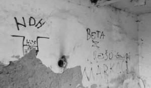 Ustaški nacistički grafiti u podlogoru Kožara - Jasenovac Foto: Portal Novosti
