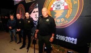 M. Hrastov: Čovjek koji je pobio 13 zarobljenika održao govor na otvaranju murala njemu u čast, 21.9.2021. Foto: Index.hr